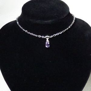 Purple Amethyst Gemstone & Silver Pendant Necklace